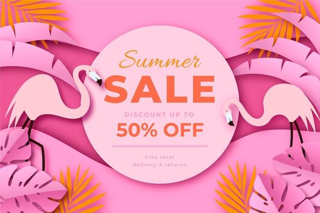 Illustration de vente d'été de style papier