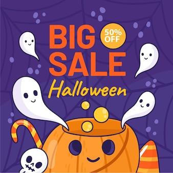 Illustration de vente halloween dessinés à la main