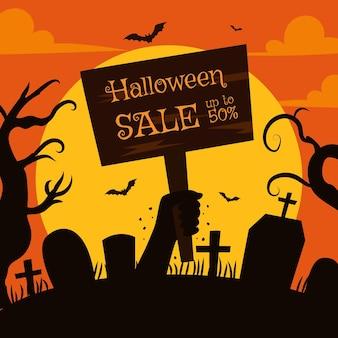 Illustration de vente halloween plat dessiné à la main