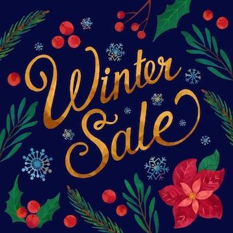 Illustration de vente d'hiver aquarelle