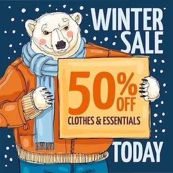 Illustration de vente d'hiver dessinés à la main