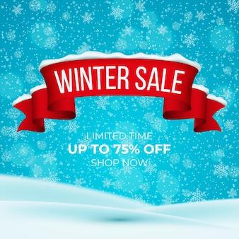 Illustration de vente d'hiver avec des éléments réalistes