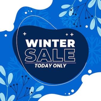 Illustration de vente d'hiver plat dessiné à la main et bannière carrée