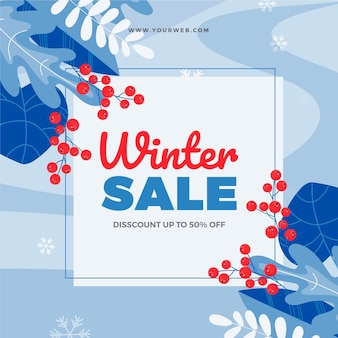 Illustration de vente d'hiver plat dessiné à la main avec des feuilles