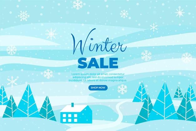 Illustration de vente d'hiver plat dessiné à la main