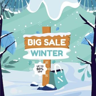 Illustration de vente d'hiver plat