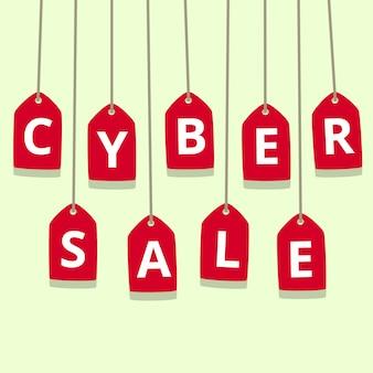 Illustration de vente plat cyber lundi avec étiquette de prix rouge