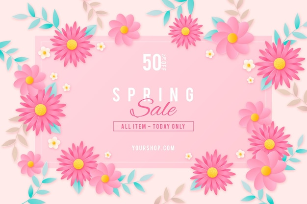 Illustration de vente de printemps floue réaliste