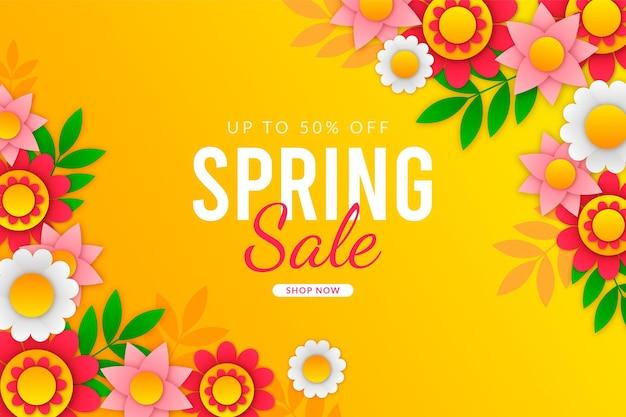 Illustration de vente de printemps réaliste dans le style de papier