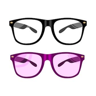 Illustration de verres de vecteur. lunettes à monture noire