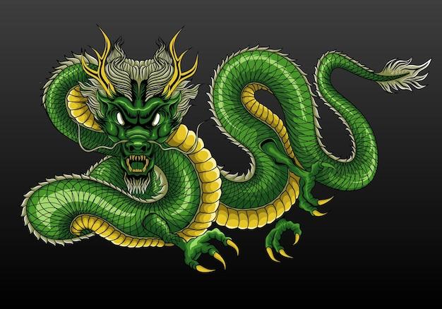 Illustration verte du dragon chinois