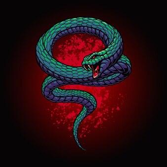 L'illustration verte de serpent dangereux