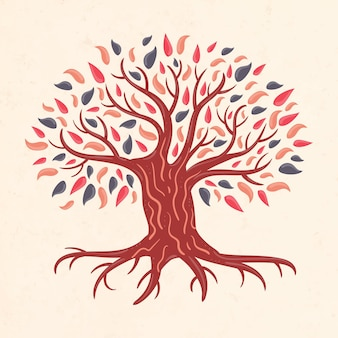 Illustration de la vie des arbres dessinés à la main