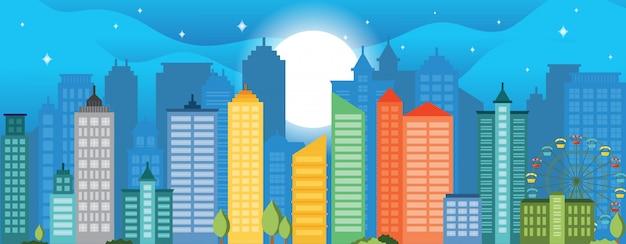Illustration de la vie urbaine cityscape landmark horizontal illustration