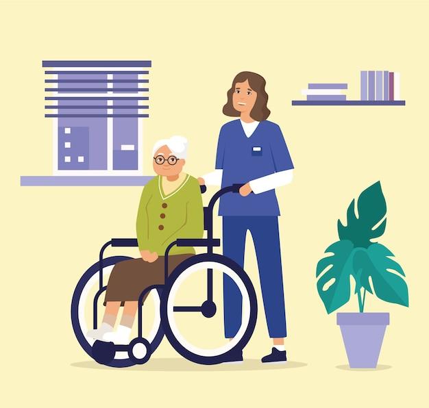 Illustration de la vieille dame en fauteuil roulant avec assistant de soins de santé en service à l'intérieur de la maison de soins.
