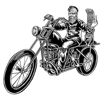 Illustration de vieux motard