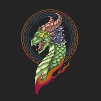 Illustration de viking nordique tête de dragon