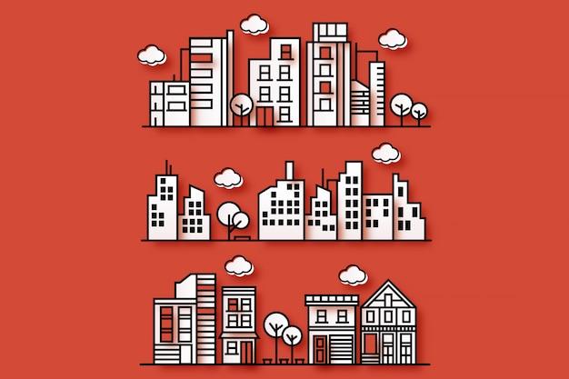 Illustration d'une ville avec différentes formes de villes dans un style papier