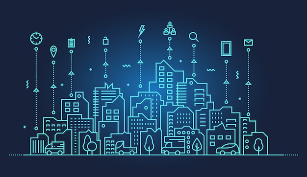 Illustration de la ville intelligente skyline