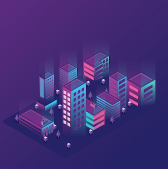 Illustration de la ville lumière isométrique