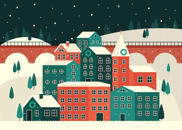 Illustration de la ville de noël plat