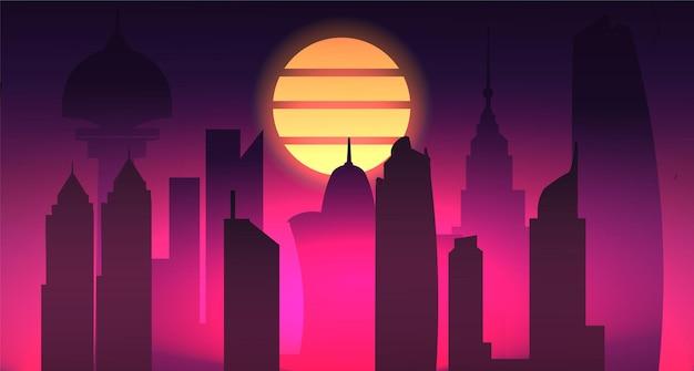 Illustration de la ville de nuit cyberpunk retrowave