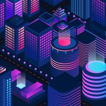 Illustration de la ville de nuit moderne avec des bâtiments isométriques