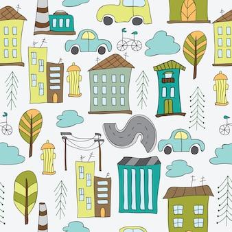 Illustration de la ville sans couture - modèle avec des maisons