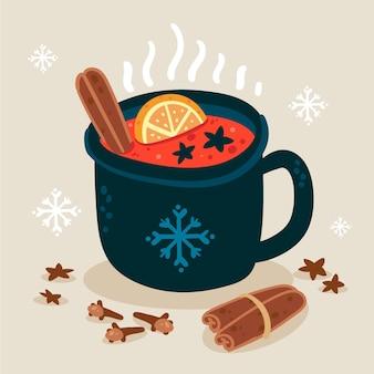 Illustration de vin chaud plat dessiné à la main
