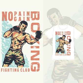 Illustration vintage d'athlète de club de boxe