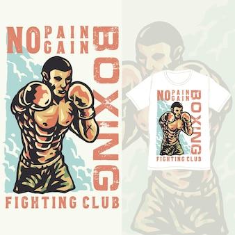 Illustration vintage d'athlète de formation de club de boxe