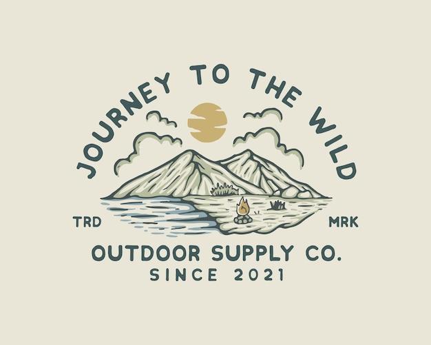 Illustration vintage d'aventure en montagne