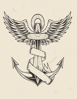 Illustration vintage bateau d & # 39; ancre avec crâne de démon et fleur rose