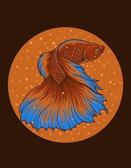 Illustration vintage beau poisson betta
