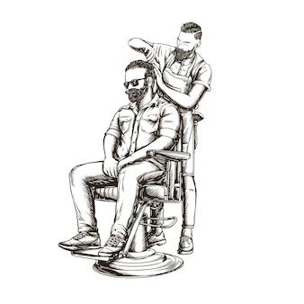 Illustration vintage de coiffeur