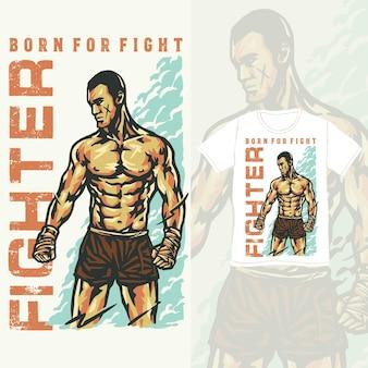 Illustration vintage de combattant d'arts martiaux mixtes