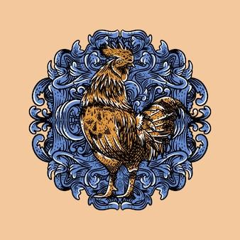 Illustration vintage coqs avec style de gravure de fond ornement bleu