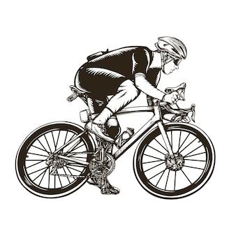 Illustration vintage de course de vélo