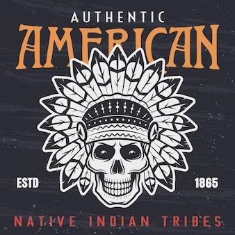 Illustration vintage de crâne de chef indien amérindien