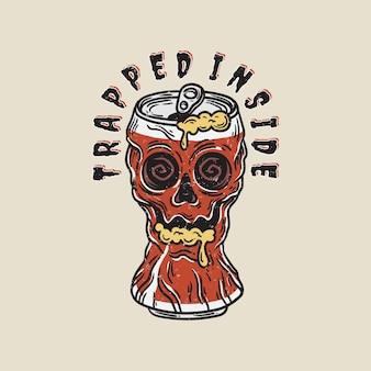 Illustration vintage d'un crâne piégé dans une canette de coke avec de la mousse à la bouche