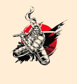 Illustration vintage d'encre de style samouraï
