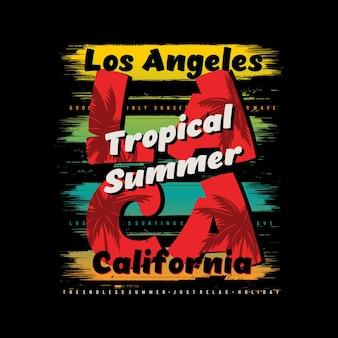 Illustration vintage d'été tropical de plage de los angeles vecteur premium
