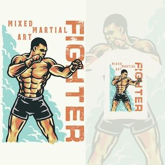 Illustration vintage de formation de combattant d'arts martiaux mixtes