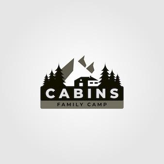 Illustration vintage de logo de cabine avec illustration de paysage de montagne