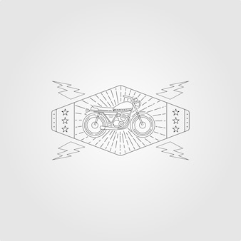 Illustration vintage de logo minimaliste de moto d'art de ligne, moto avec logo sunburst