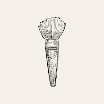 Illustration vintage d'un pinceau de maquillage