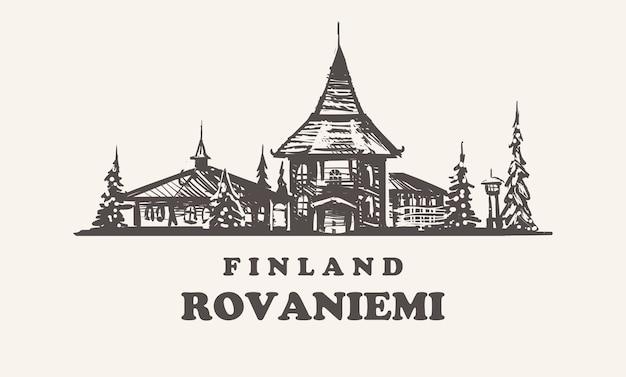 Illustration vintage de rovaniemi, finlande, bâtiments dessinés à la main de rovaniemi sur fond blanc.