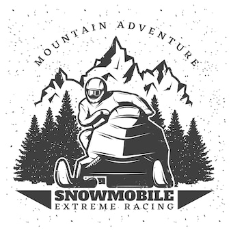 Illustration vintage de sports extrêmes d'hiver