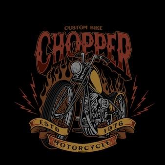Illustration vintage de style de vélo personnalisé chopper