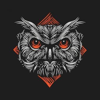 Illustration vintage la tête d'un hibou contre un style de gravure d'ornements de couleur orange